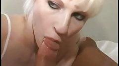 Blonde slurping cock
