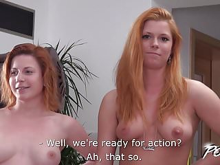 Povbitch - Redhead duo try to fuck cock best they can