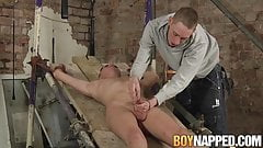 Restrained twink edged and tugged by dominant master