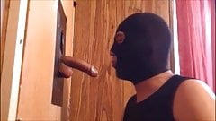 Masked Gloryhole Gay Cocksucker Works Big Cock and Balls