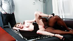 Lya Pink interracial and facial in front of husband