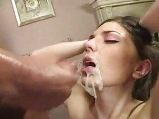 Fine brunette bitch gets sexy mouth cream