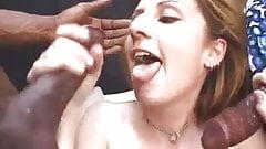 White milf gets screwed by two big black cocks