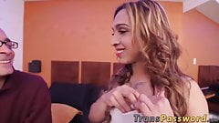 Cute shemale Irina Chanell enjoys a massive hard cock