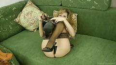 Kinky mature mom in stockings