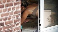 Milf neighbor spy changing