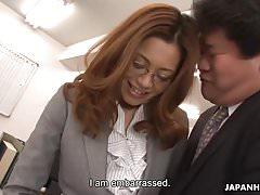 Sexy Asian secretary sucks president's cock to a yummy mouth