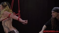 Hardcore face fucking, deepthroating with his tied slave