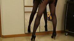 In black pantyhose