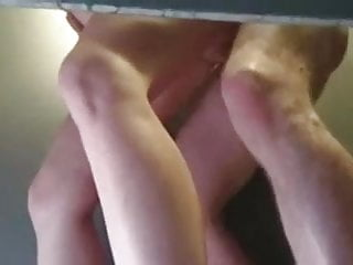 caught fucking standing in bathroom stall she rubs clit