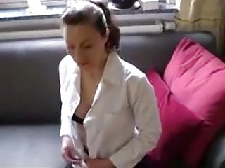 german amateur teacher private lesson - cum on mouth an tits