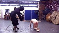 2 Mistresses cane disobedient slave