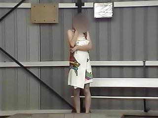Drops her towel naked at pool