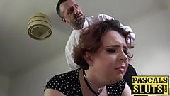 Teary eyed sub flogged until her ass cheeks turn red