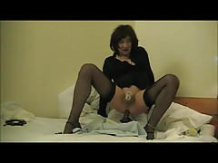 Soft Sissy Sadie in chastity clitty dripping ride