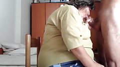 Nice blow job from BBW granny