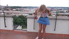 Pretty Blonde Windy Upskirt