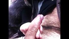fur handjob in car