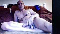 Hung dad sits on huge dildo and shoots a heavy cum load