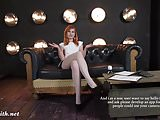 Pantyhose upskirt flashing during tv show by Jeny Smith