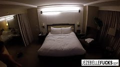 Nude Jezebelle Bond hangs out in her hotel room