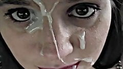 brunette encourages a splattered face