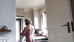 naked grandpa in the kitchen