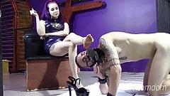 Chastity slave worships feet