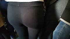 Round and tight ass in black leggings