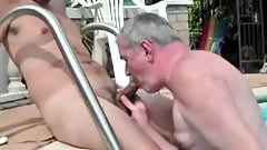 Older men playing with younger men