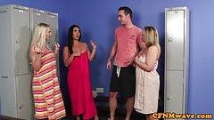 British femdoms cocksuck their sub until cum