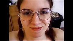 Shameless girl in glasses gives blowjob 3 - cum on face