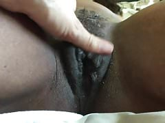 Mature ebony pussy plays with younger interracial boyfriend