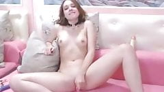 Cute teen slim small tits boobs rubbing pussy