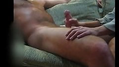 GF strokes, admires thick cock till it cums, cfnm