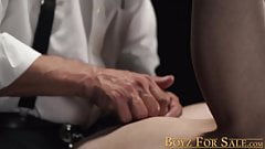 Fancy mature guy drills younger twink in hardcore domination