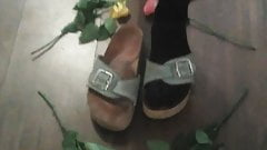 Feet in nylon, shoes collestion stocking pantyhose