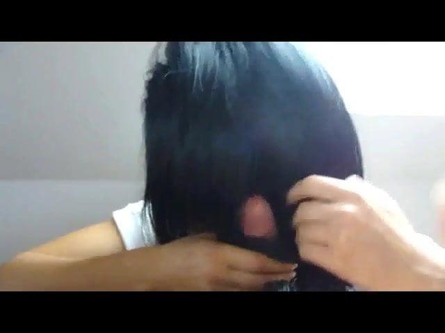 Long hair, Hair, Hairjob, Cum in hair