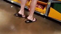 Walmart 2 blonde milfs, perfect feet, legs Faceshot