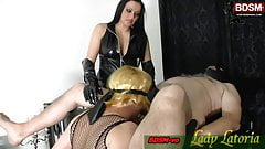 Sklave learn how to make blowjob for femdom lady domina