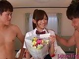 Tiny schoolgirl Mayu Nozomi loves threeway