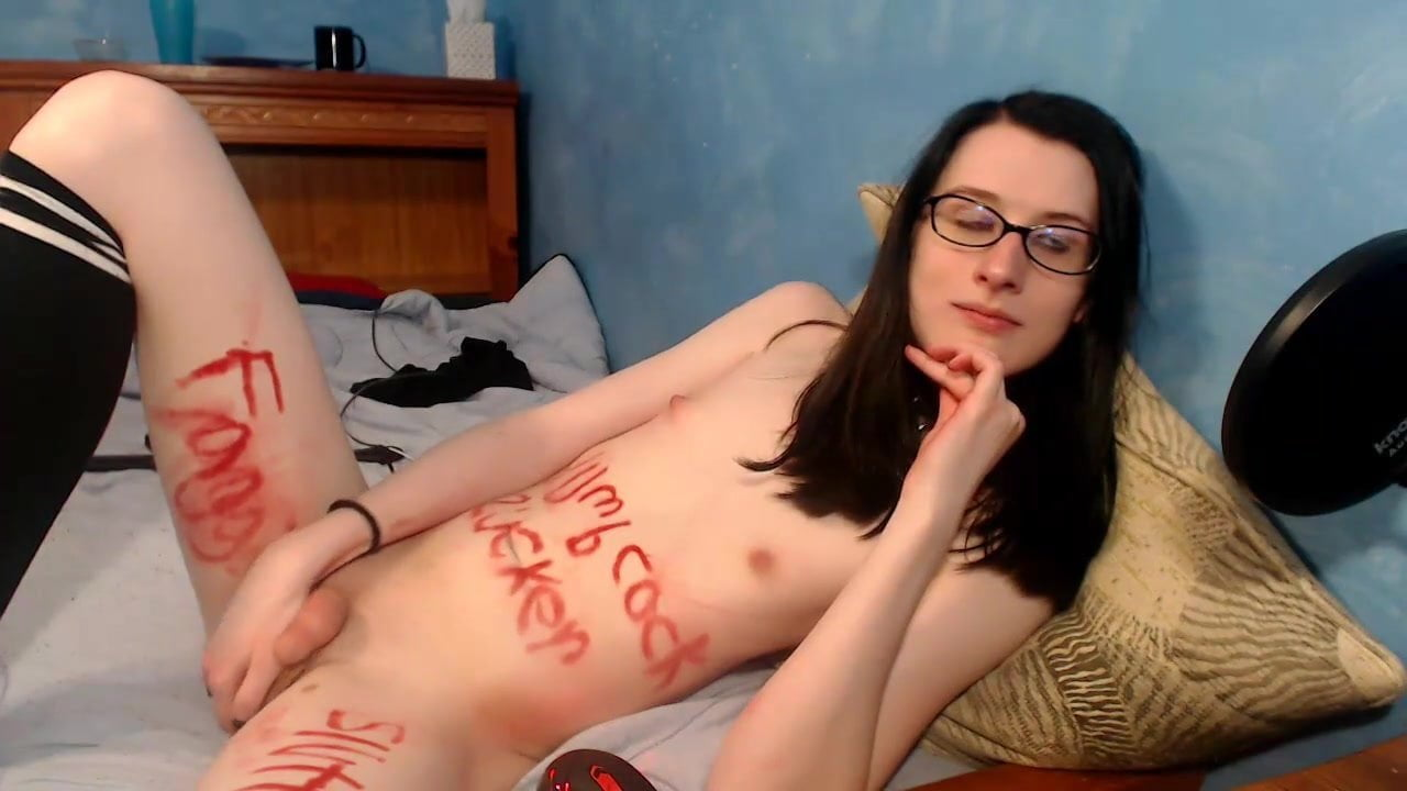 Emo girl doing blowjob removing process on webcam