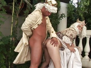 Princess in a crown bends over for king's cock in outdoor royal fuck