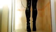 Wetlook - black cossack boots, leggings, shirt
