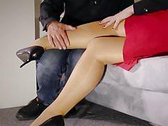 Horny Teacher milf footjob jerks stockings fucking squirt