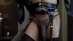 Wank in a STOCKING STRING while my SLUTY Wife is FUCKED