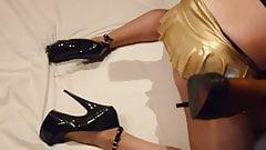 Gold nini dress and pantyhose bith