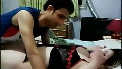 High class mature aunty in hotal with teen guy