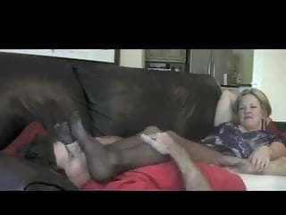 Handjob while sniffing nylon feet 14