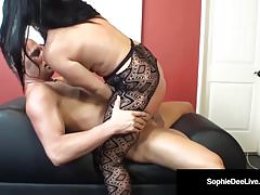 British Brunette Sophie Dee Pussy Penetrated Riding CowGirl!